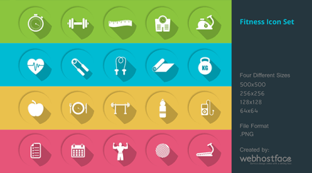 Free health and fitness icons Gym fitness & health free icon set