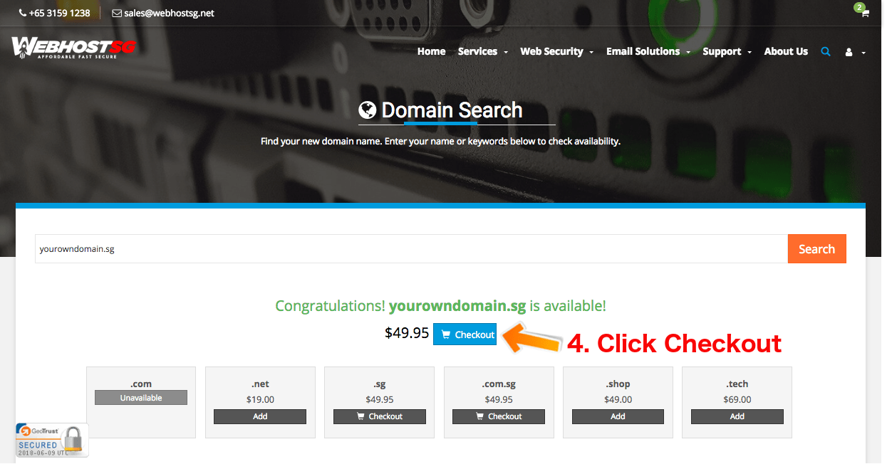 Sg Domain Registration Step 3