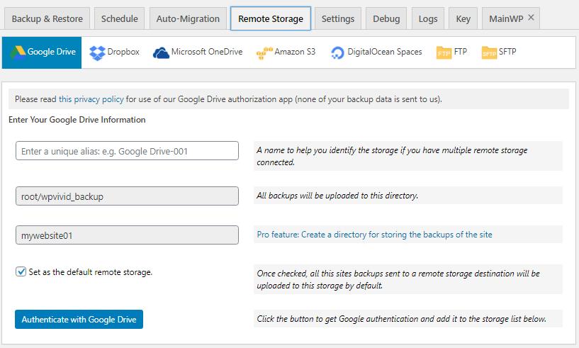 backup plugin Remote Storage