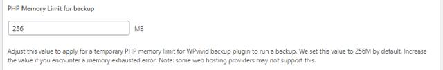 Advance Settings - PHP Memory Limit