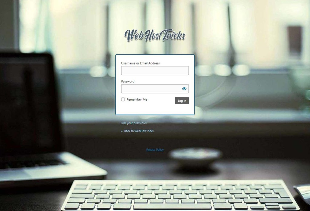 New WordPress login page