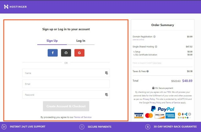 Enter Account Information