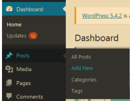 Adding a new Post in WordPress Dashboard