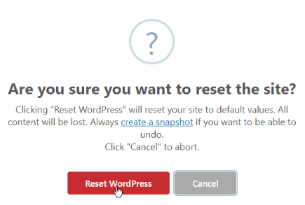 Confirm Reset WordPress