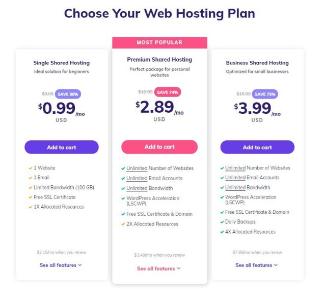 Hostinger Shared Web Hosting Plans