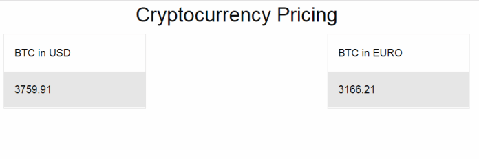 Vue app with mock price of Bitcoin in both USD and Euros