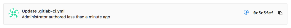 GitLab commit notification with pipeline status icon