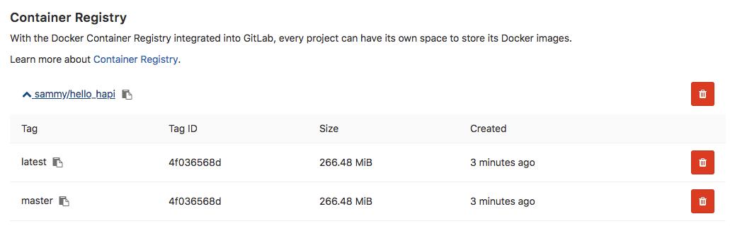 GitLab container registry image list