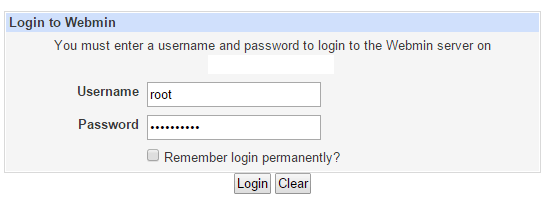 webmin login page
