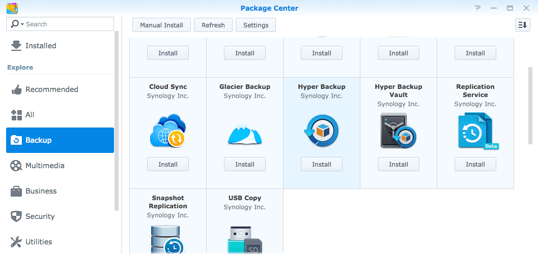 Synology Package Center, with Hyper Backup entry highlighted