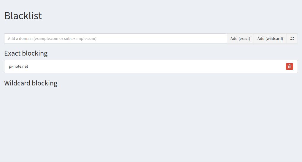 Web Interface Blacklisting pi-hole.net