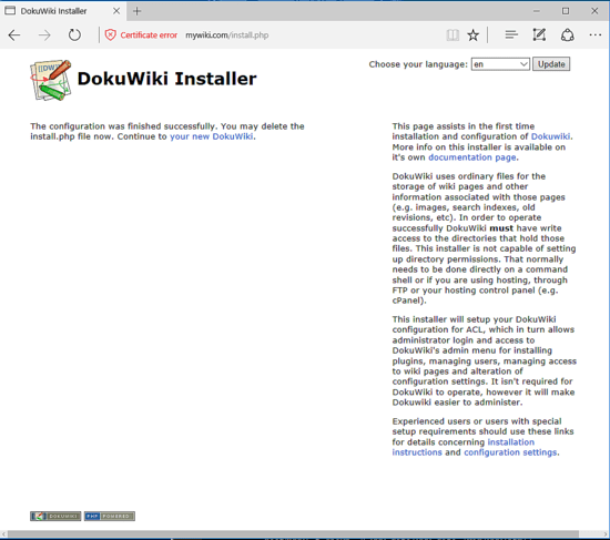 Just how to Install DokuWiki with Apache on Debian 9 20