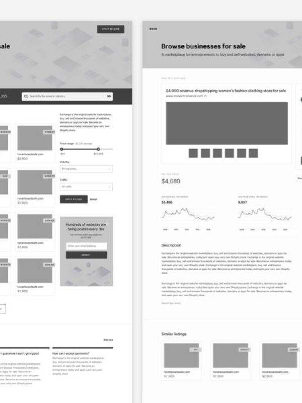 Shopify Exploratory Wireframes