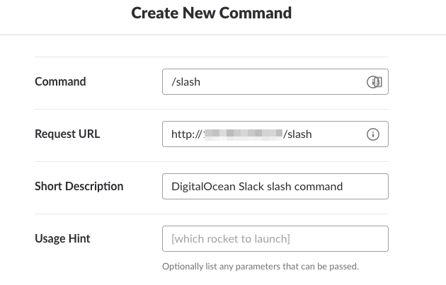 Page for creating new command.