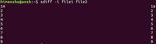 sdiff -i file1 file2