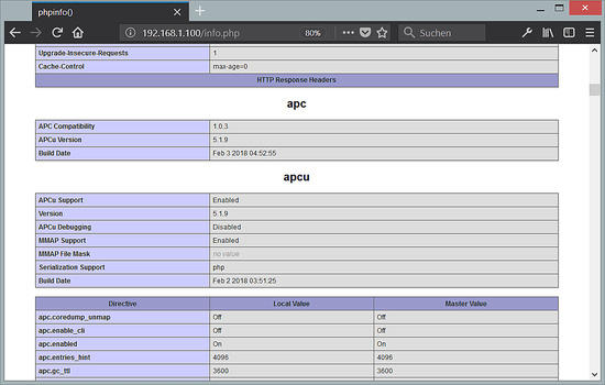 APC and APCu enabled in PHP 7.2