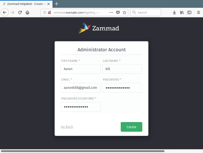 Create Zammad Admin Account