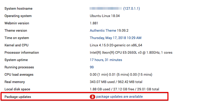 Webmin shows the number of package updates available
