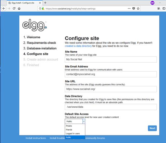 Configure site in Elgg