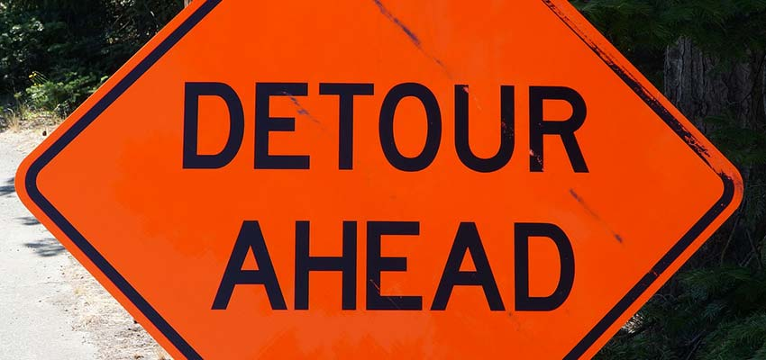 """Detour Ahead"" road sign"
