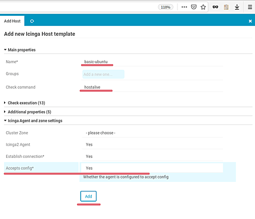 Add new Icinga Host template