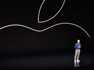 Tim Cook on stage during an Apple event in September 2018.