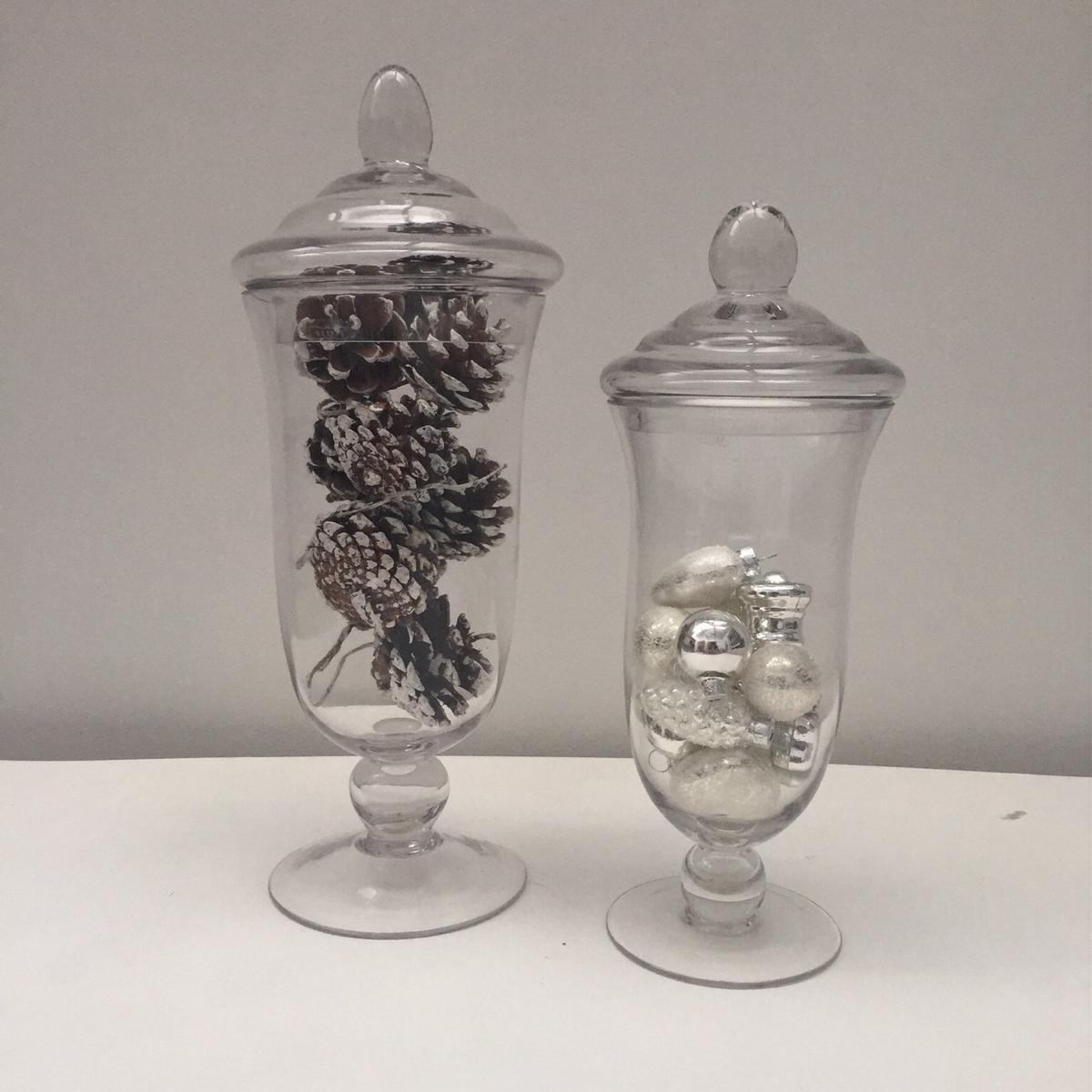 Bathroom Canisters Set Of 2 Tall Glass Bon Bon Jars Canisters