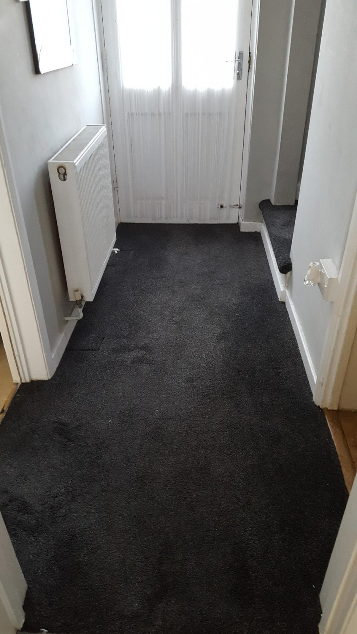 Stairs And Landing And Hall Carpet In B65 Sandwell For £90 00 For   Dark Grey Carpet Stairs   Fitted   Black   Grey Vinyl Flooring   Dark Brown   Floor