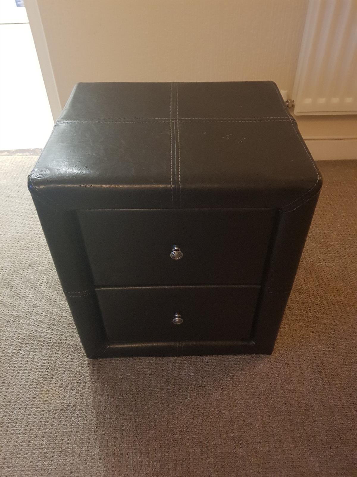 Premium Black Leather Bedside Drawers Pair