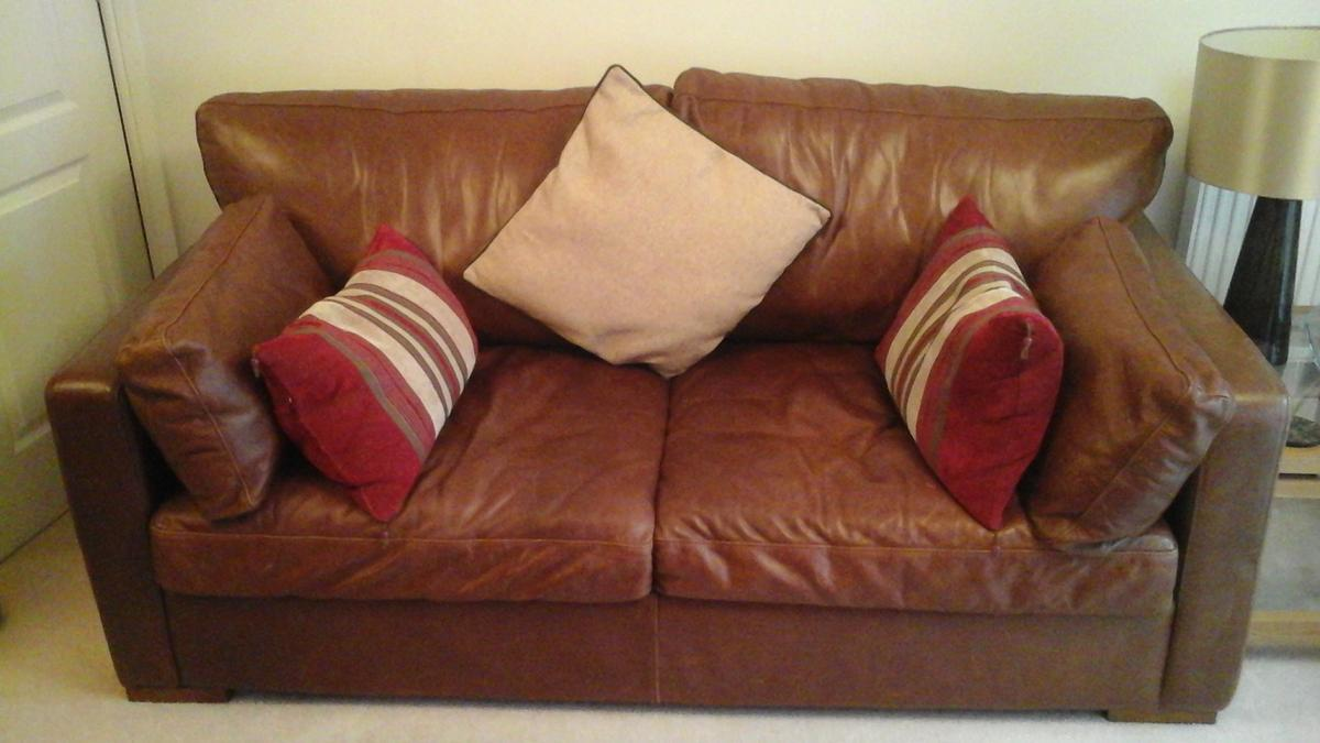 Brown Duresta Leather 3 Seater Sofa Bed In Preston For 175 00 For Sale Shpock