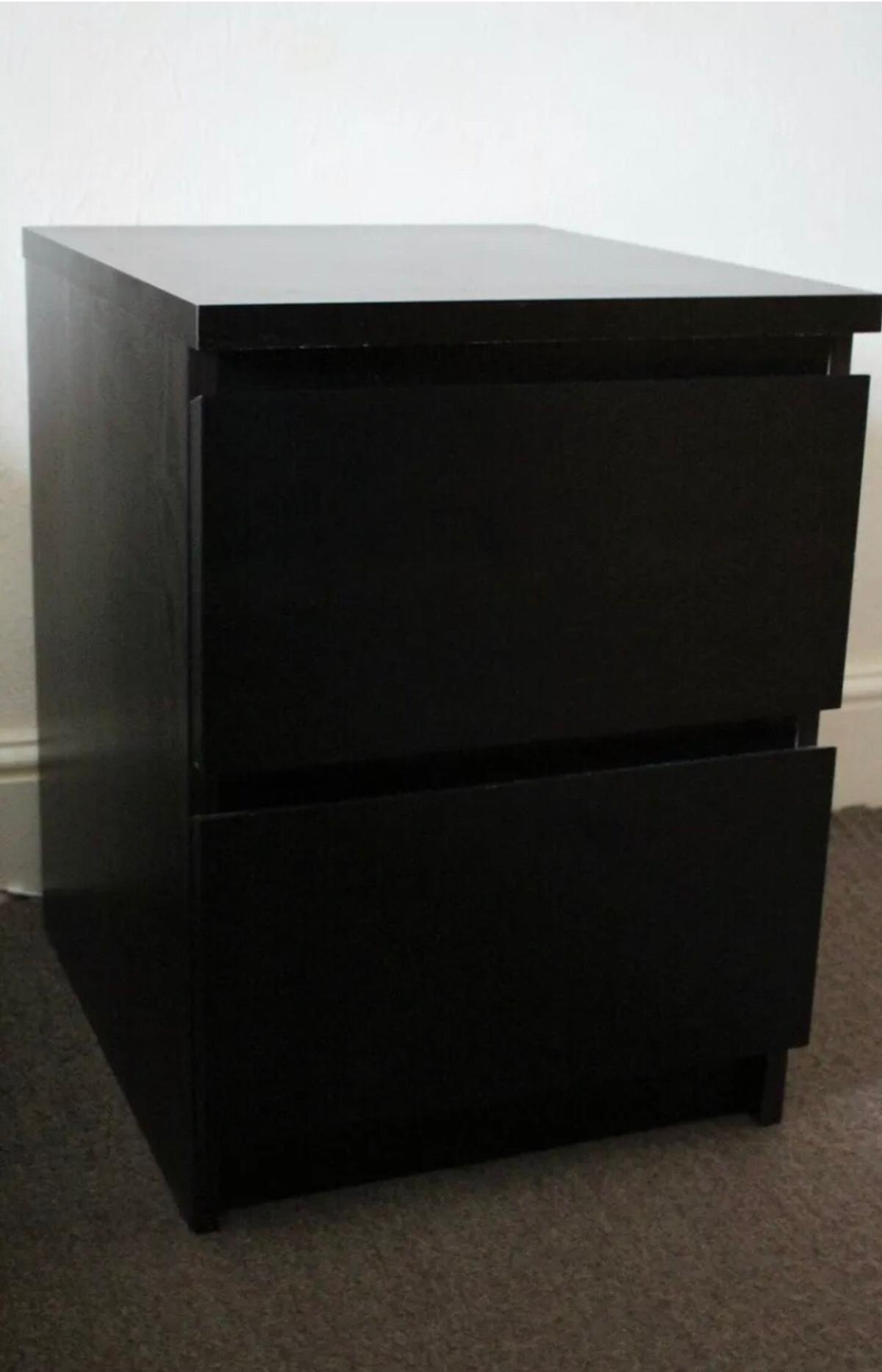 Ikea Bedside Table Chest Of 2 Drawers Black In Me16