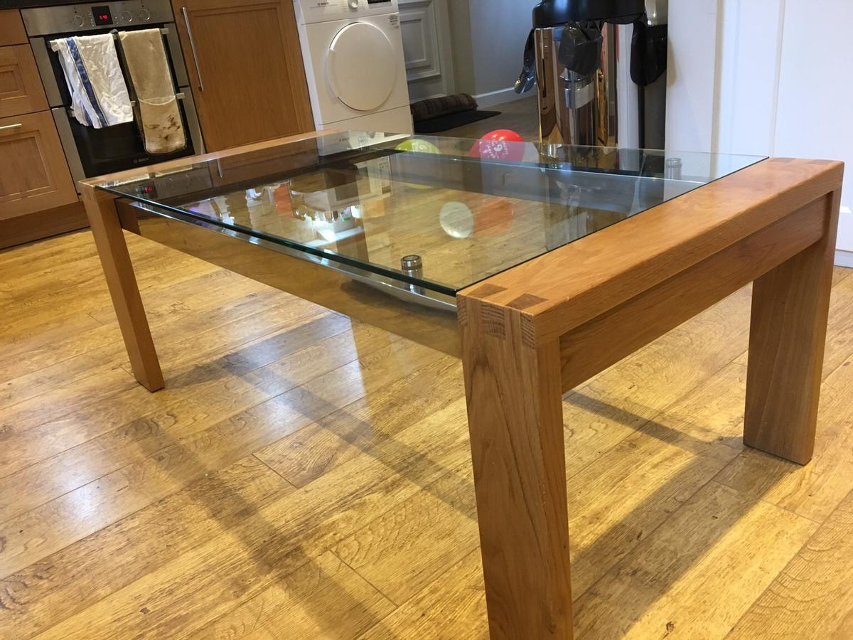 solid oak coffee table with glass top