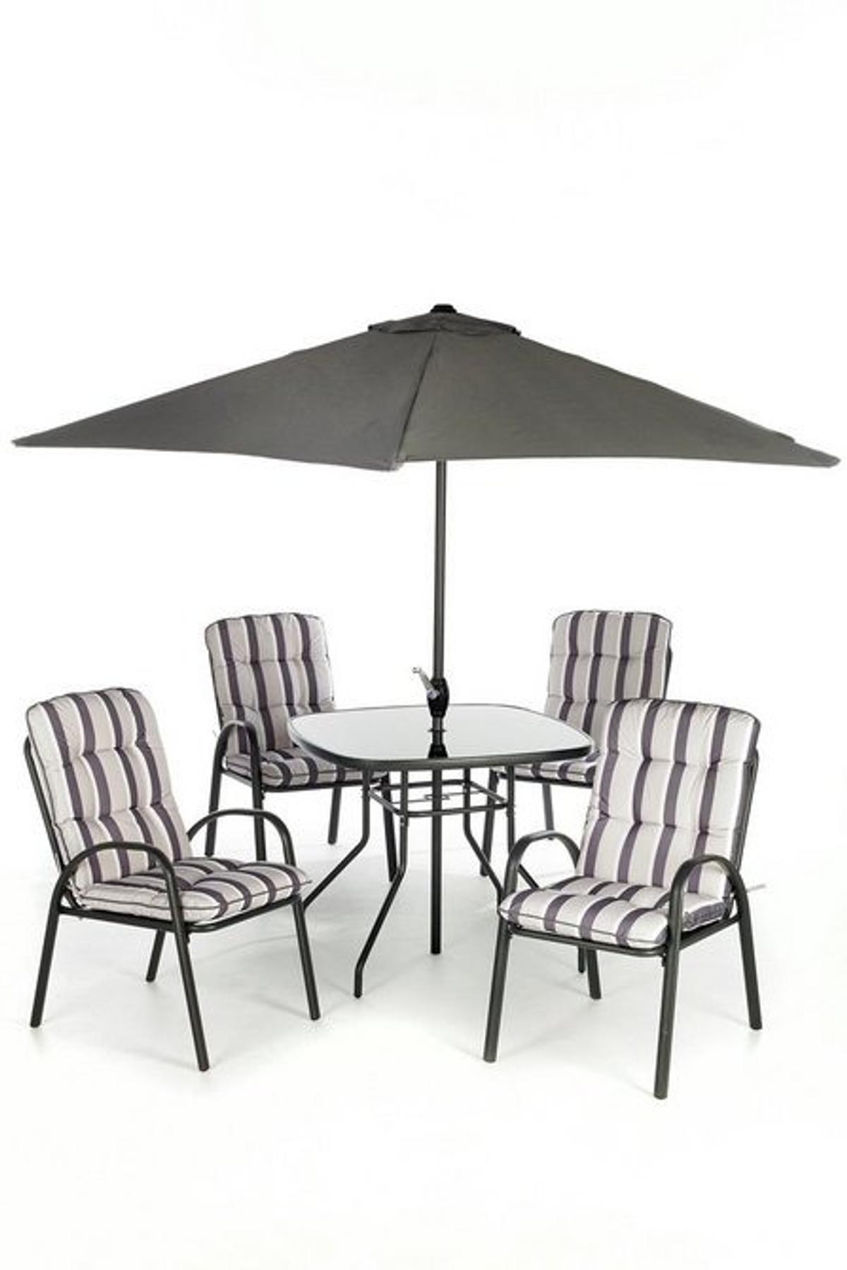 6 piece padded patio set table 4 chairs