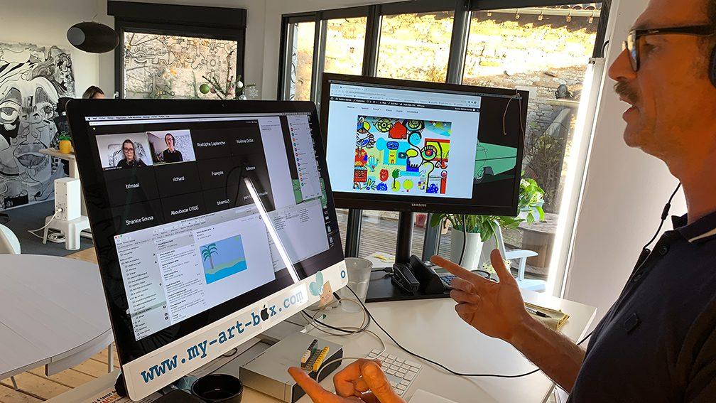 Idée d'Activité de Cohésion à Distance webinaire.games aNa artiste digitale fresque télétravail.