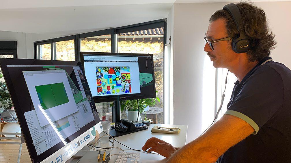 Activité Cohésion Virtuelle à distance team building artistique fresque télétravail par aNa artiste sur webinaire.games
