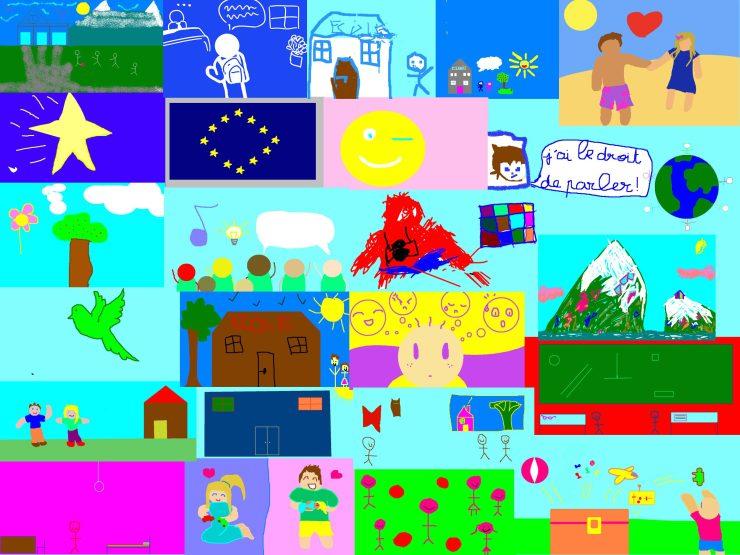 Le fond de la fresque digitale Alpha 3a composée par aNa artiste à partir des dessins reçu à distance depuis chaque participant ou famille
