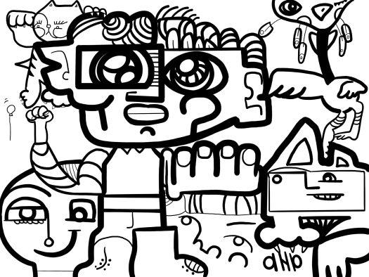 Le dessin à la ligne et au trait noir de la fresque digitale réalisée à distance par ana artiste pour le projet alpha 3a des droits de l'enfant