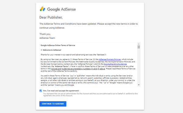 Google AdSense - Accept Contract