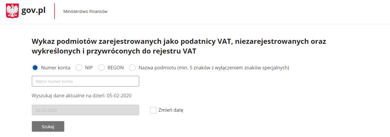 Wykaz podatników VAT - wyszukiwarka