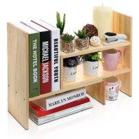 Adjustable Freestanding Natural Wood Desktop Storage ...