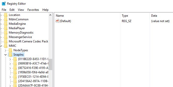 Éditeur de registre des composants logiciels enfichables MMC