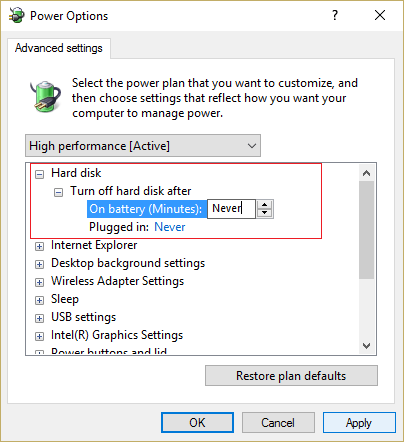 Expand Turn off hard disk after and set the value to Never
