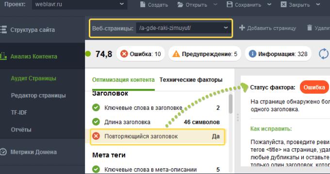 Анализ страницы сайта