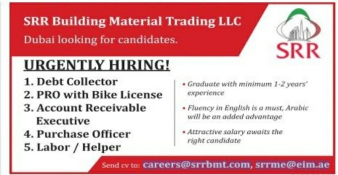 PRO, Debt Collector, Account Receivable, Purchase officer, Helper Latest Jobs in Dubai.