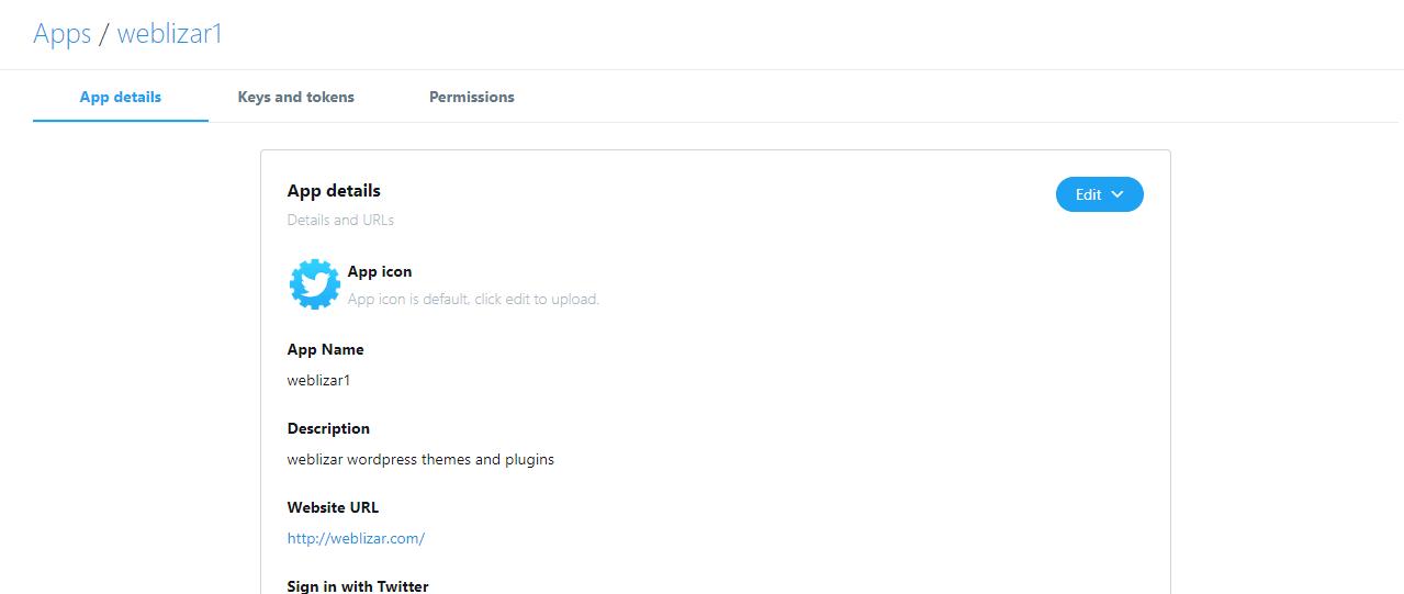 generate twitter API key