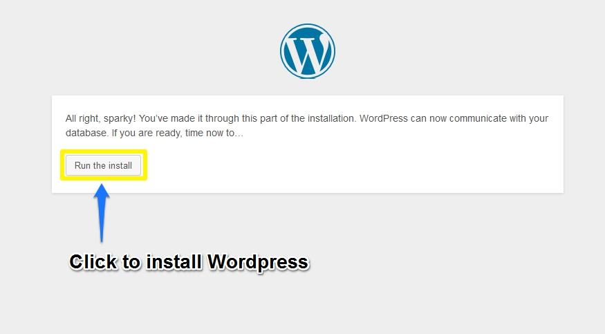 Forth Screen of WordPress Installation