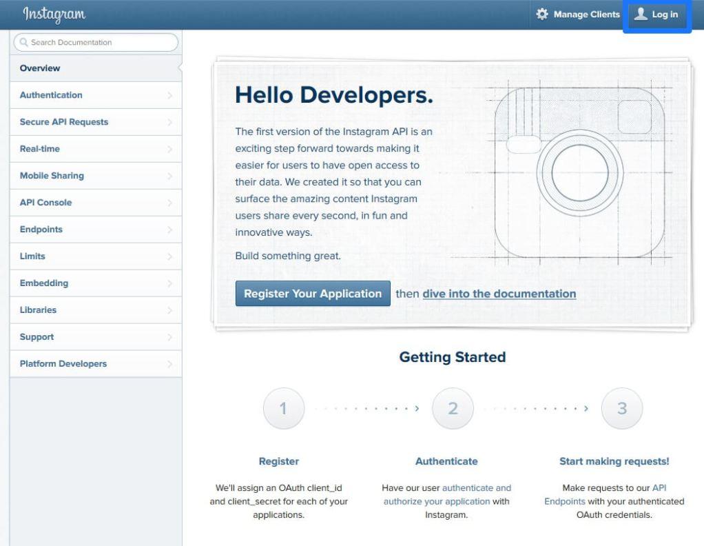 Login To Instagram Developer Center