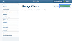 Register a New Client Button