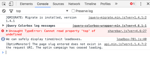 how to customize through inspect element errors in console tab