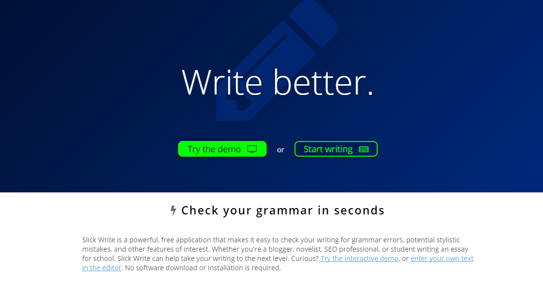 slickwrite Write SEO Optimized Content